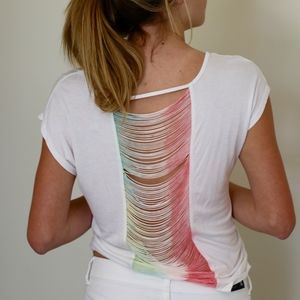 ombre string white shirt